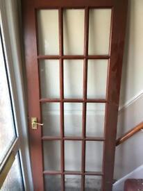 Internal glass panelled doors x2