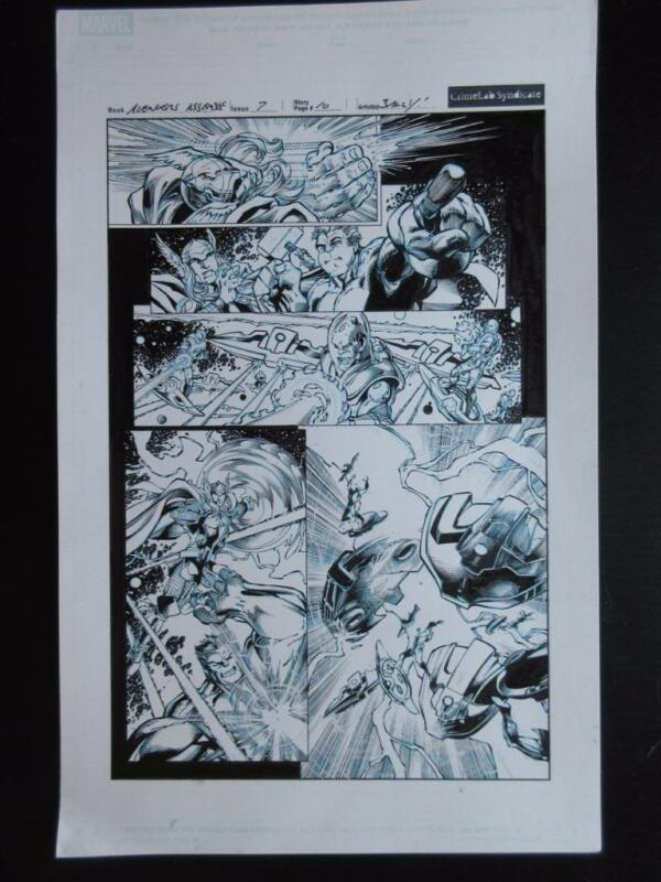 Avengers: Assemble #7 Page10 (Original Art) 2012 Mark Bagley! Hulk Smacks Thor!