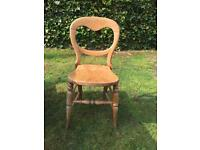 Antique pine table and 5 chairs