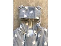 Grey M+S unisex snowsuit, size 6-9 Months.