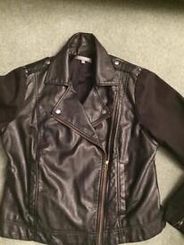 Ladies Black Biker Jacket - M&S - Size 14/16