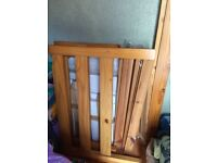 "Pine bed frame, large single size 3'6"", strong construction"