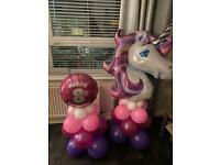 Unicorn balloon and age ball