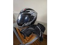 Motercycle helmet and gloves