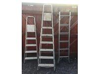 3 metal step ladders