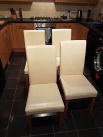 Cream PU Leather Chairs with wooden legs x 4