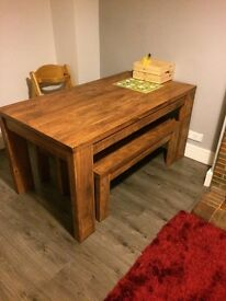 Solid table and benches