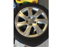 """Set of 4 Genuine Audi 17"""" Alloy Wheels with tyres all in good condition"""