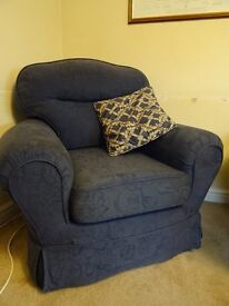 FIVE PIECE SUITE - USED 3 SEATER / 2 SEATER SOFA BED / 2 CHAIRS / FOOT STOOL.