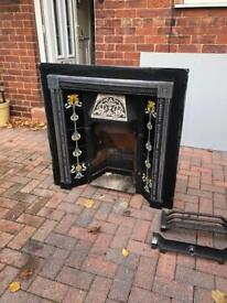 Antique Style Cast Iron Victorian Tiled Insert Fireplace Convector Box