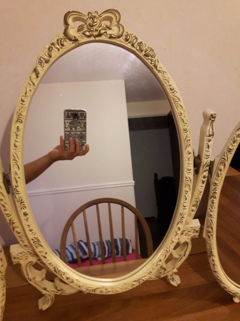 Simple Vintage Table Mirror Louis Style Chelsea Triple Cream And In Inspiration