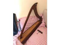 Beautiful medieval lap harp, 19 strings