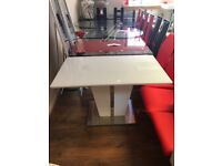 01d932e5a4c Memphis Glass Dining Table Small In White Gloss And Chrome Base   282