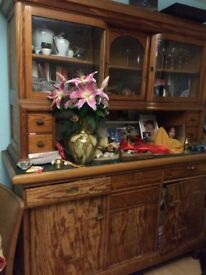 Antique Kitchen dresser, art nouveau, pine with bowed glass doors at the top vitrine