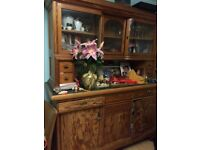 Antique Kitchen dresser, art nouveau, pine with bowed glass doors at the top vitrine