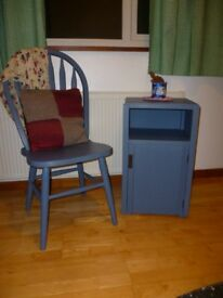 Vintage upcycled bedside cabinet and matching chair - lovely!