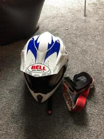 Bell motor bike helmet and goggles
