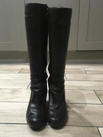 Clark's Women's black leather heeled knee boots size 5