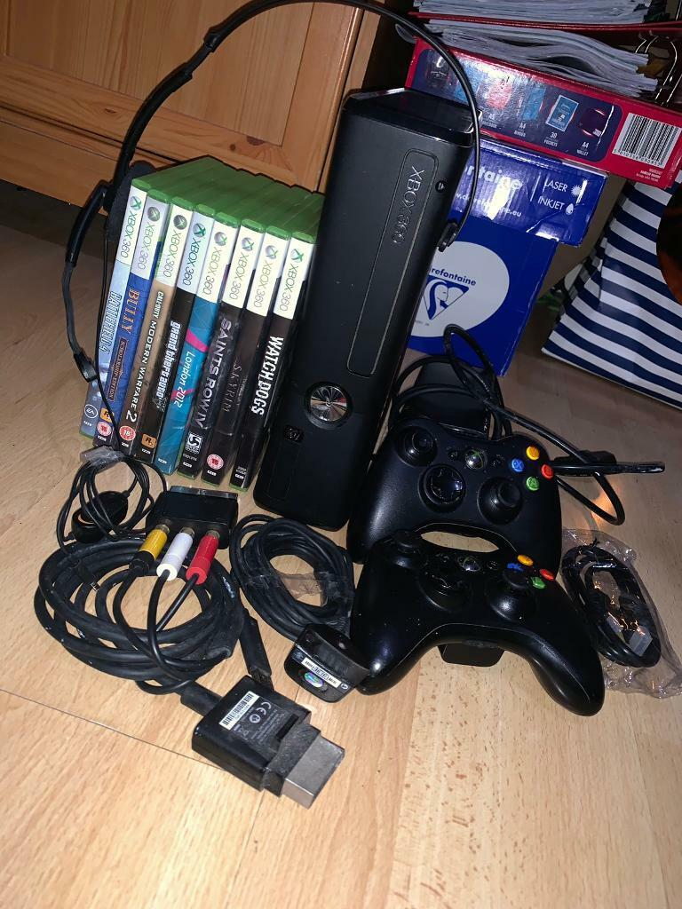Xbox 360 Slim 250GB BUNDLE - 2 Controllers, 8 Games, Headset    | in  Huyton, Merseyside | Gumtree