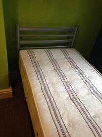 Single bed frame with mattress, good condition, £50