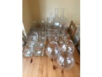 Assorted glassware used for wedding