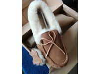 Ladies real sheepskin moccasins slippers