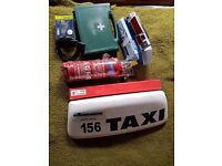 Taxi meter + Roof sign + fire extinguisher + bulp kit + warning triangle