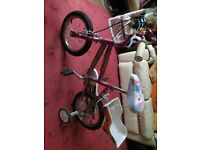 "14"" girl's bike with removable stabilisers"