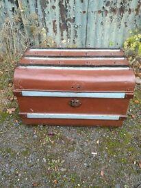 Vintage metal trunk antique storage box chest painted