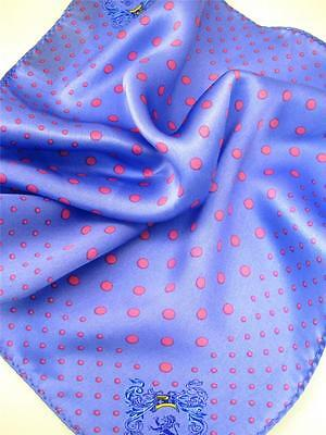"New 14"" 100%  Silk Pocket Square  Blue/Pinkish Red Polkas"