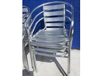 12 Silver Metal Bistro Chairs & 2 Tables