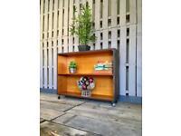 Vintage retro teak industrial display unit cabinet