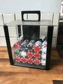 Case of Poker/Casino Style Game Chips