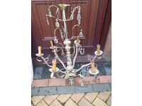 Chandelier, Very old style 2 tiers and 9 lights. Antique .