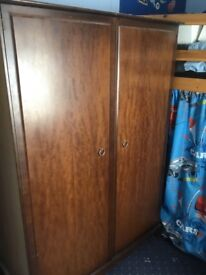 Stag wardrobe and chest of draws