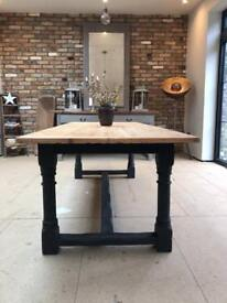 Rustic farmhouse refectory kitchen dining table 8 seater
