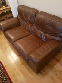 Two seater leather sofa + armchair in excellent condition
