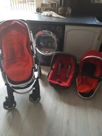 Icandy peach blossom..cherry red witj 2 seats carseat carry cot and all adapters