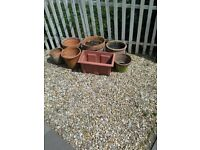Approximately 20 terracotta and plastic pots.