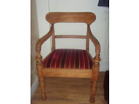 ANTIQUE SMALL OAK ARMCHAIR/CARVER FULLY RESTORED/RECOVERED. SUPERB.