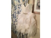 Wedding Dress Size 8 short destination dress feather effect unique ivory