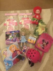 Girls bundle reward charts singing doll bags cinderella cushion lite up lego brand new helmet