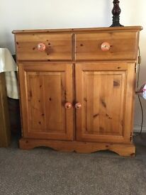 Pine two door cupboard with two drawers
