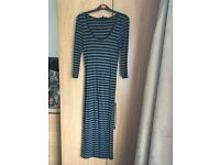 Black and Grey Striped Warehouse Maxi Dress Size 10