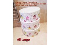 Very Large Pretty 3 Set Storage Boxes Cup cake design size on photo