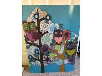 Large IKEA floral/owl wall art/picture.