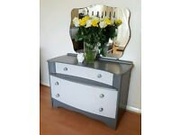 Dressing Chest with Mirror - Grey Dressing Table - 2 Drawers Home Bedroom Furniture