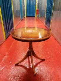 Polished Yew wood side table and magazine rack