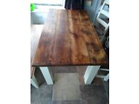 Beautiful rustic oak dining table with 4 chairs