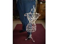 82 cms Tall cream wire storage/display female form stuuded with stones - Shipley